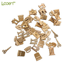 100Pcs Sewing Machine Scissors Shaped Wooden Buttons Sewing Button For Children Clothes Decorative Button Scrapbooking Accessory цена