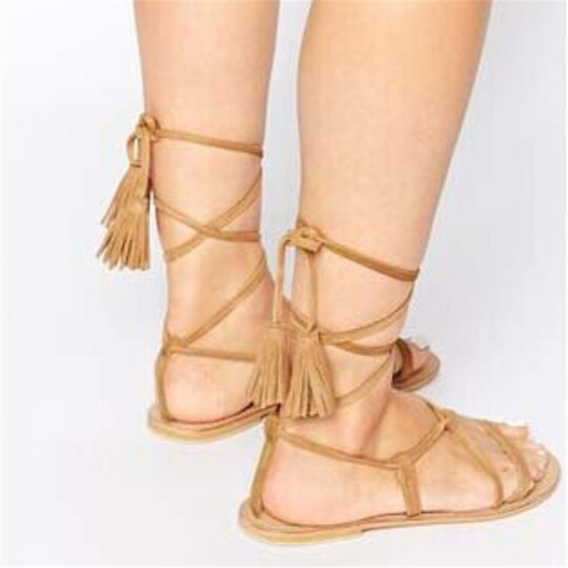 c0e5ba677007 Fashion Brown Black Suede Ankle Tie Flat Sandals Lace Up Fringe Gladiator  Sandals Women Boots Shoes Woman Botas Sandalias Mujer