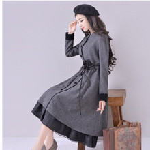 [AIGYPTOS-YHT]High Quality Women Autumn Vintage Elegant Slim Classic Plaid Patchwork Long Wool Overcoat Trench S M L XL XXL XXXL
