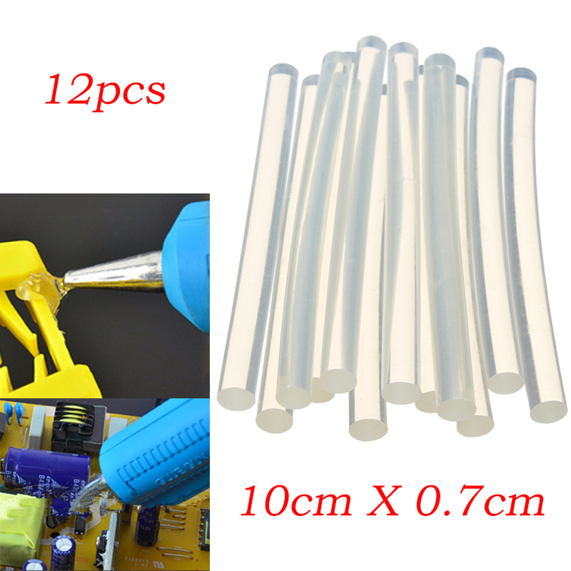 New 12Pcs/Set Plastic Hot Melt Glue Stick for For Plastic Wood Fabric Electronics Metal Leather Home Office Supplies 7mm*100mm
