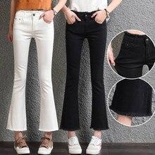 Красный черный белый джинсы женщина мода хлопка стрейч джинсы женщин тонкий клеш джинсы