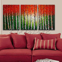 3 Piece Hand Painted Palette Knife White Tree Oil Painting Wall Art Canvas Picture Modern Abstract Home Decor Living Room Set 2