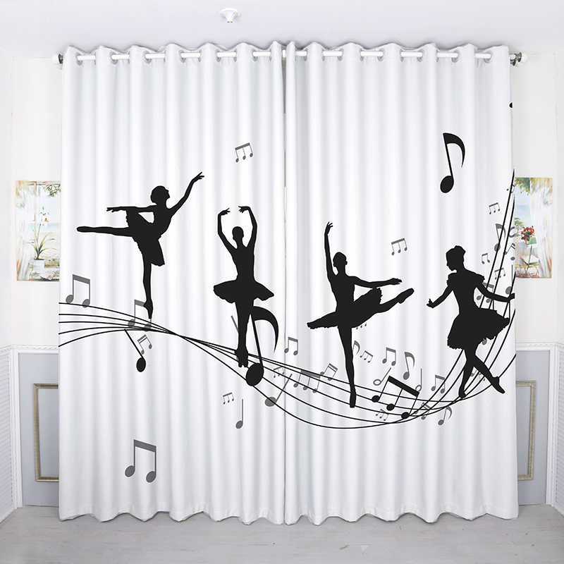 Modern 3d Blackout Curtain Pink Dance Yoga Girl Pattern Thicken