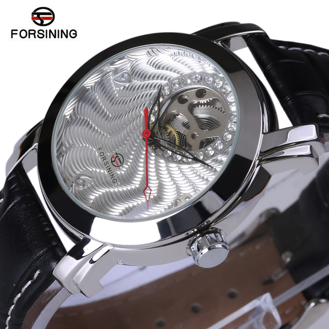 2017 New Forsining Wrist Watch Men Skeleton Automatic Self-Wind Watches For Men Rhinestone Mechanical Watches Mens Gift