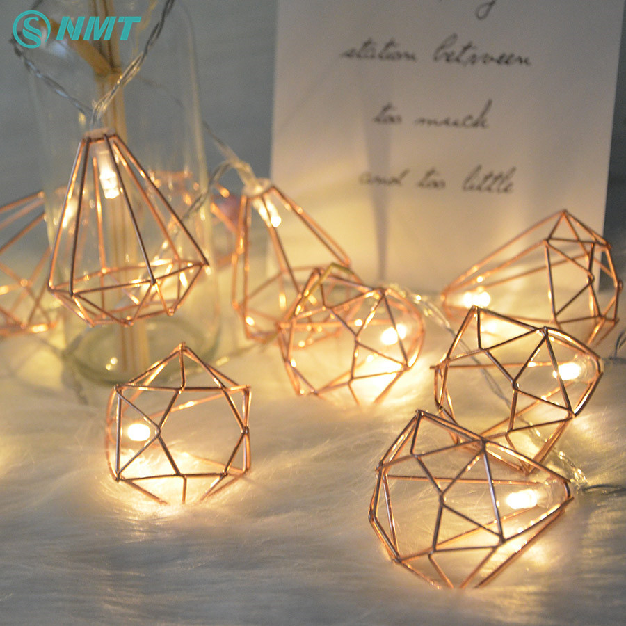 1.5M/3M Retro Metal Battery Powered LED Fairy String Lights 10/20 LED Diamond Lantern String Lamp Christmas Xmas Home Decoration