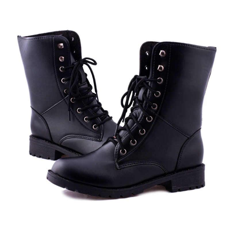 Nuevas botas de invierno 2018 con cordones a la moda para mujer botas femeninas negras hunter martin talla grande Mujer zapatos EU35-42