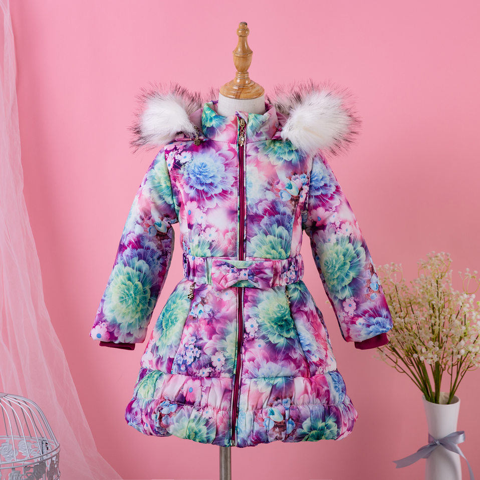 Pettigirl Vintage Winter Long Flower Printed Girl Coat Hooded Outerwear With Bow Fashion Kid Clothes For Girls G-DMOC009-B120Pettigirl Vintage Winter Long Flower Printed Girl Coat Hooded Outerwear With Bow Fashion Kid Clothes For Girls G-DMOC009-B120