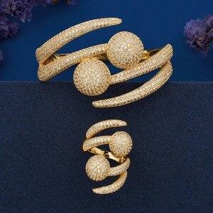 Image 1 - ModemAngel Luxury Big Ball Full Mirco Pave Cubic Zircon Gold Color Women Brand Bijoux Fashion Bangle Ring Sets Party