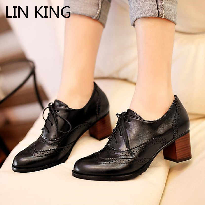LIN KING New Big Size Pointed Toe Women Pumps Square Heel Brogue Short Shoes Lace Up High Heel Shoes Ladies Office Oxdords Shoes