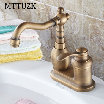 MTTUZK Antique Solid Brass Deck Mounted Basin Faucet hot&cold Mixer Tap 360 Rotated basin Faucet bathroom Faucet free shipping