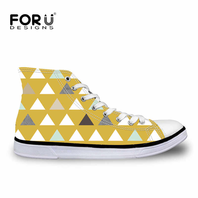 FORUDESIGNS Mod Mint Triangles Printing Women Vulcanize Shoes 2018 Canvas Shoes for Ladies Platform Sneakers Lace-up Flats Girls