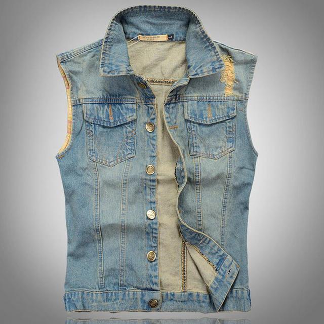 Brand New Men's Denim Vest Plus Size XXXL Vintage Sleeveless Denim Jacket Men Light Blue Washed Destroyed Mens Jean Waistcoat