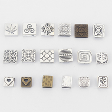 15pcs Antique Silver/Bronze Square Flat Slider Spacer fit 10mm 13mm Leather Cord Bracelet Jewelry Making Accessories Bijoux