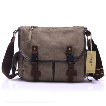 High Quality Canvas Bag Men's solid cover zipper casual shoulder school bags men crossbody bag Men Messenger Bags