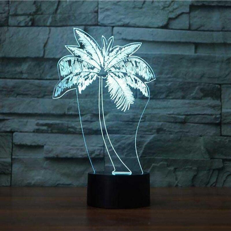 LED Palm Tree Modelling NightLight USB 3D Table Lamp Fashion Bedroom Luminaria Decor Bedside Baby Sleep
