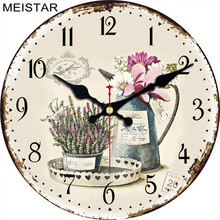 MEISTAR 9 Patterns Vintage Flower Design Round Clock Silent Home Decor Study Cafe Office Watches Large Art Wall Clocks  6 inch