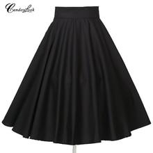 Candowlook Высокая талия полный круг большой маятник женские юбки черный рокабилли pin up плюс размер трапециевидная плиссированная юбка