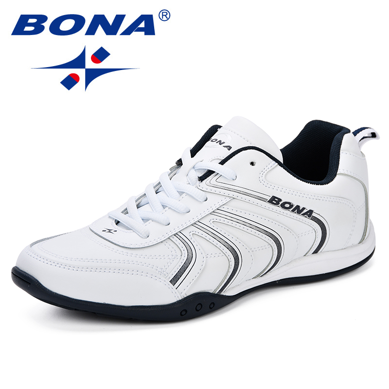 BONA New Classics Style Men Running Shoes Lace Up Men Athletic Shoes Leather Men Outdoor Jogging