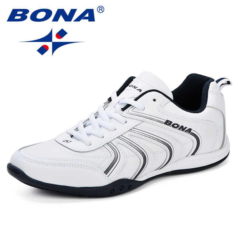 5b7f45aeec3f BONA новый классический стиль, мужские кроссовки на шнуровке, мужские  спортивные туфли, кожаные
