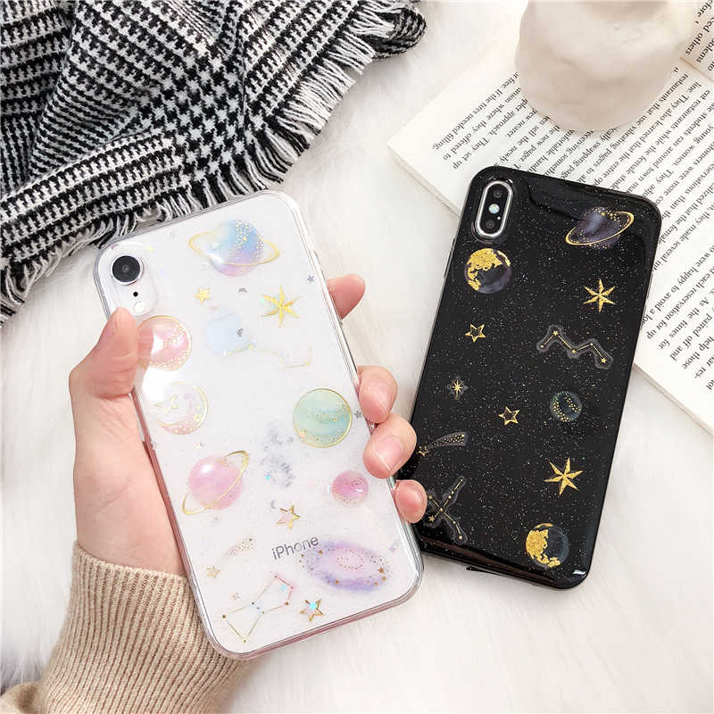 For iPhone 6 6s 7 8 Plus 10 X XS XR Max Bling Glitter Sparkle Planet Star Moon Sequins Transparent Soft Silicone TPU Case Cover