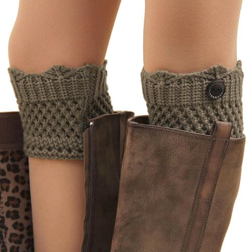 Women Winter Leg Warmers Acrylon Wool Crochet Hollow Knit Boot Socks Toppers Cuffs