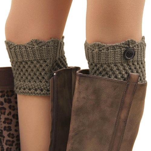 Women Winter Leg Warmers Acrylon Wool Crochet Hollow Knit Boot Socks Toppers Cuffs