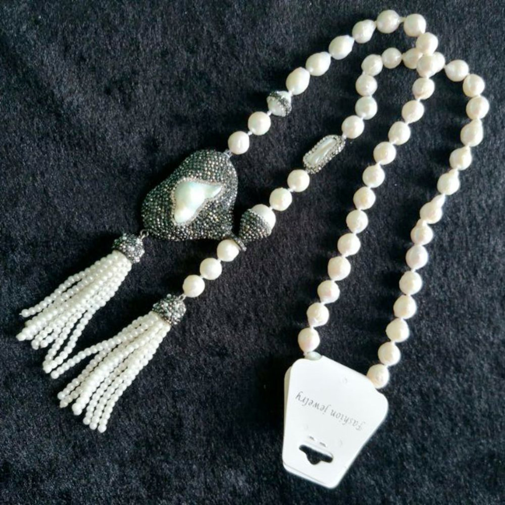 High Quality Nature Pearl Tassel Necklace for Women Luxury Long Necklace Pendants Womens DIY Handmade Jewelry Statement Necklace