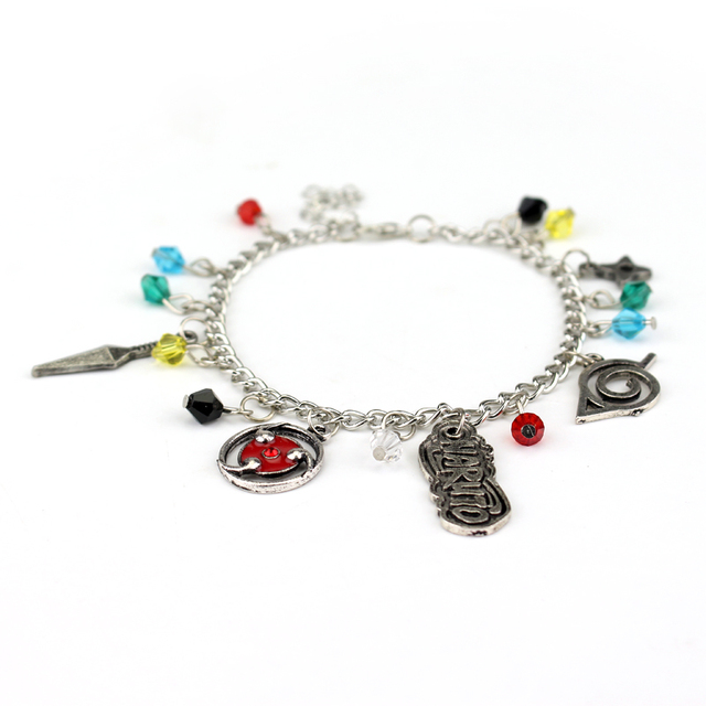 Anime Naruto TV Show Logos 5 Themed Charms Bracelet