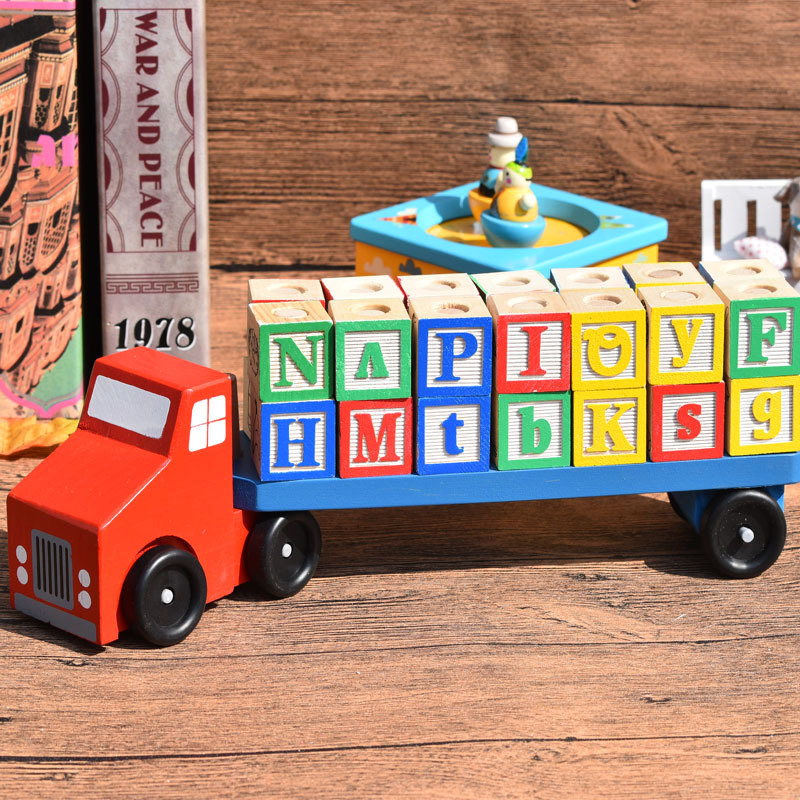 Candywood Wooden Abc Letter Truck Car Building Blocks
