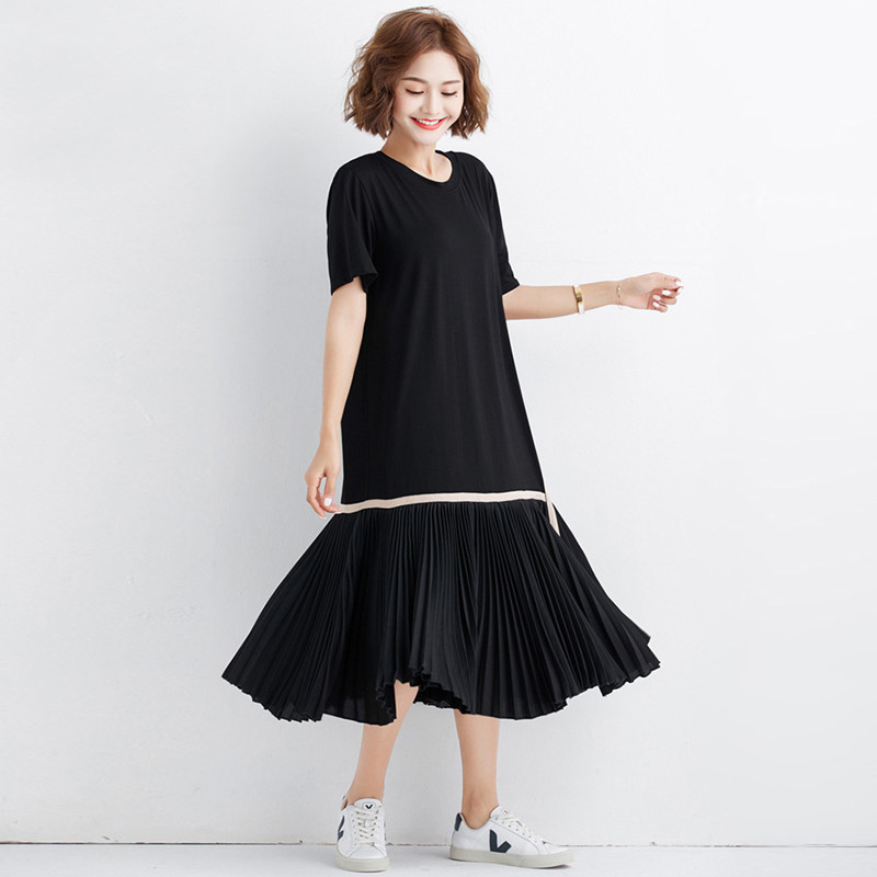 Johnature New Pleated Dresses Summer Loose Large Size Women Clothes Solid Color Patchwork Casual Simple Comfortable Dresses 2019