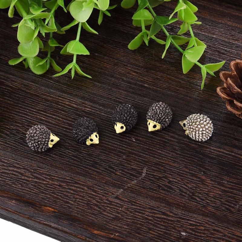 10Pcs/Set Cute Mini Animals Hedgehog Sheep Chicken Figurines Miniatures Home Micro Miniatures Accessories Fairy Garden Supplies