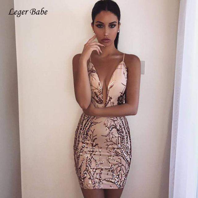Leger Babe 2018 New Gold Sequins Summer Dress Women Luxury Vestido Sexy  Party Club Wear Strap V Neck Backless Mini Dress Female 62a7073f17b7