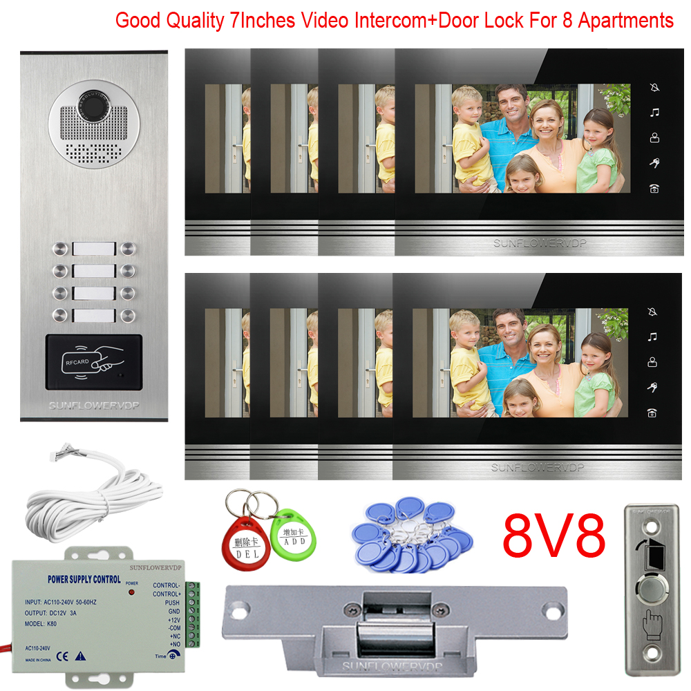 Video Intercom For Apartment 8/10/12 Multi Units Videophone 7
