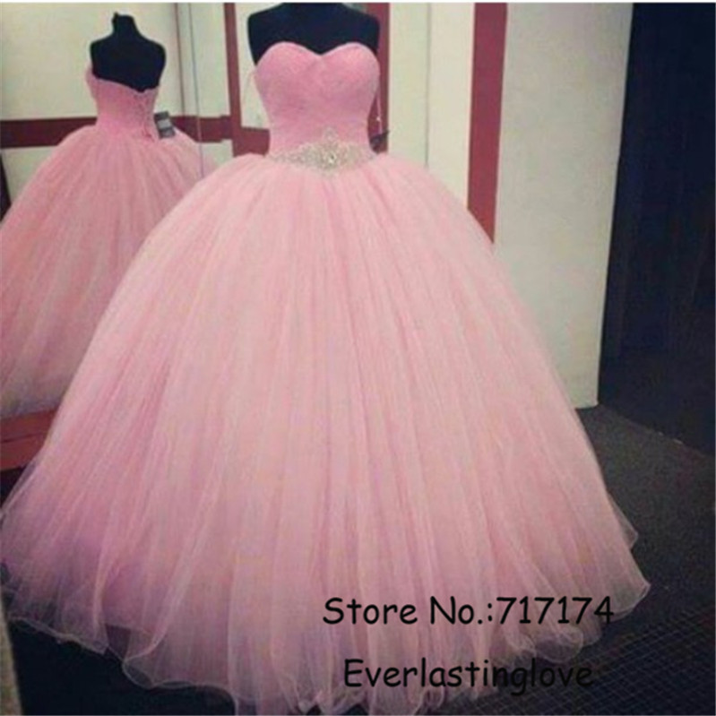 Baratos Novia de escote piedras plata rebordear Pink Prom bola rosa ...