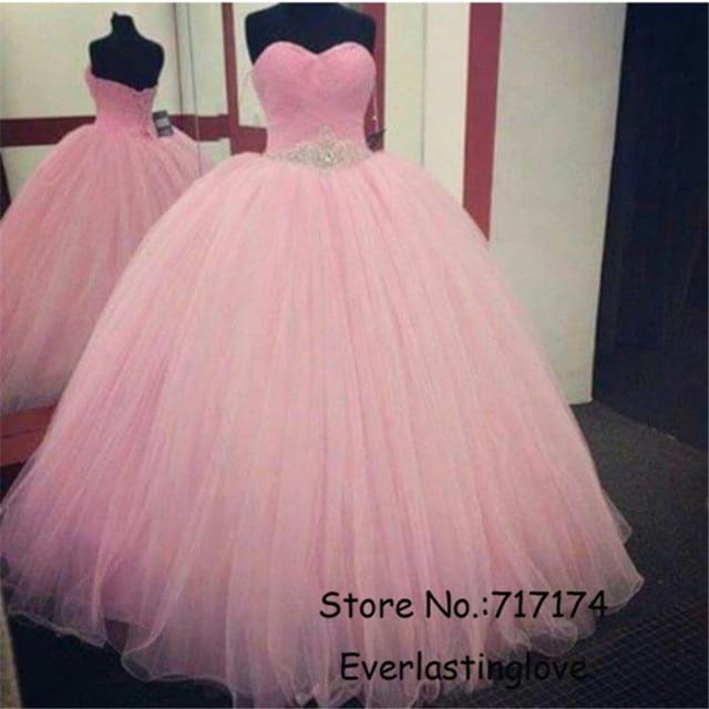Novia de escote piedras plata rebordear Pink Prom bola rosa viste el ...