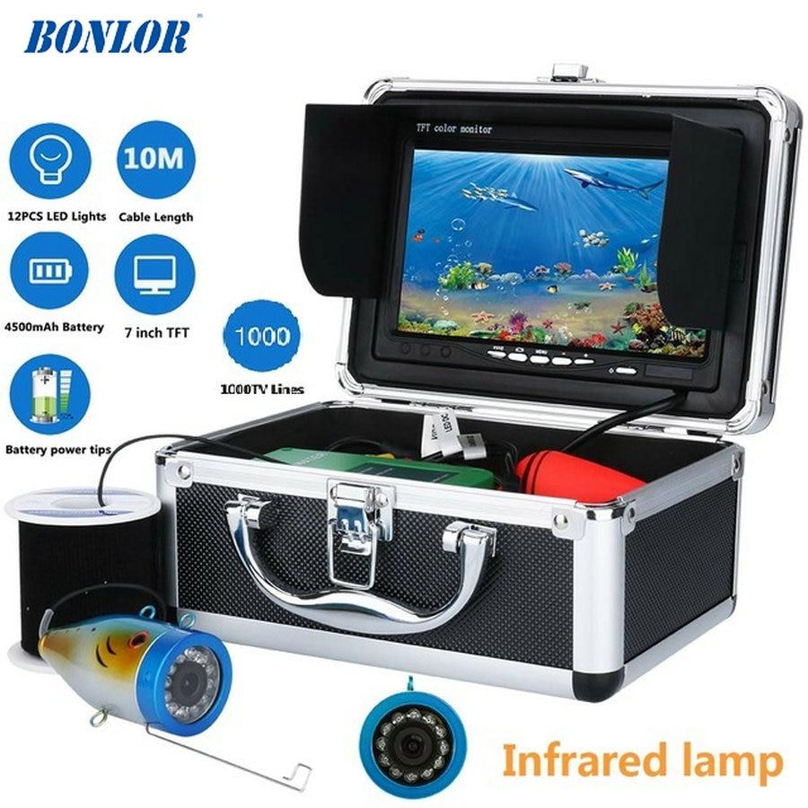 7 Inch 1000tvl Onderwater Vissen Video Camera 10 M 12 STKS LED infrarood Lamp Lichten Video Fishfinder Lake Onder Water vis cam