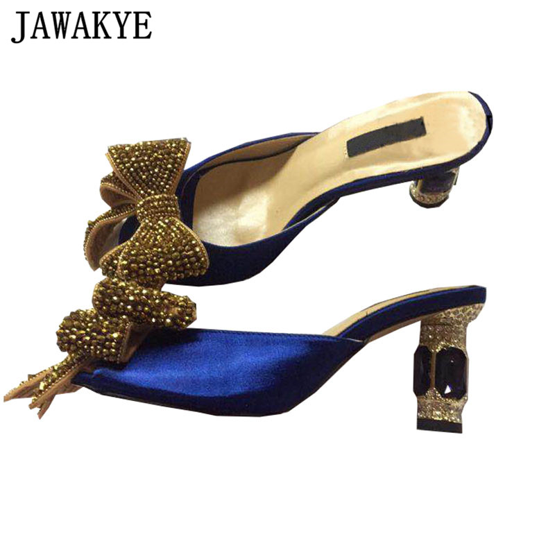 Sexy sandals women crystal butterfly knot decor diamond high heels 2019 satin rhinestone dress slippers for ladies summer shoes-in High Heels from Shoes    1