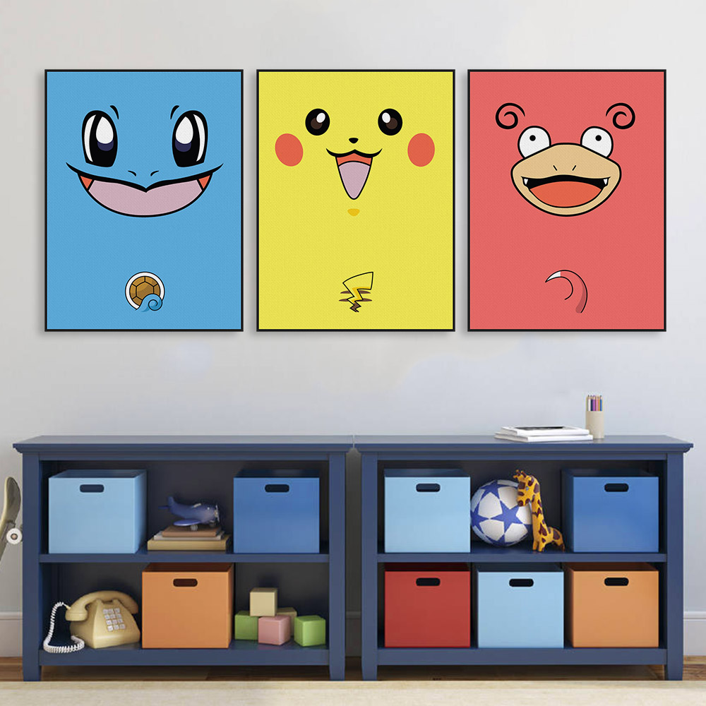 Modern Pop Japanese Anime Game Kawaii Pokemon A4 Canvas Print Poster Nursery Wall Picture Kids Baby Room Decor Painting No Frame