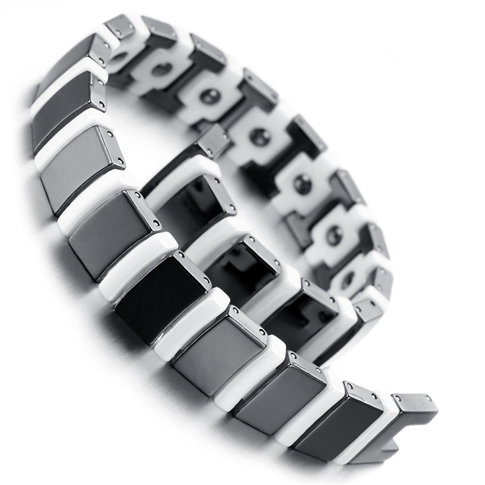 Mens Tungsten Bracelet, Black & White, 8.46