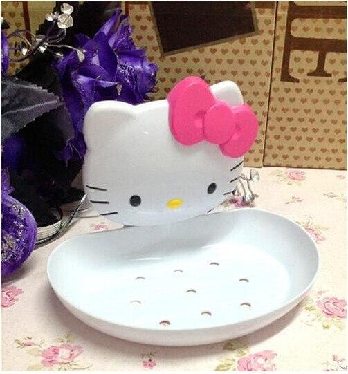 Kawaii Hello Kitty Soap Box Soap Dish Soap Holder with Suction Robe Accessories for Bathroom Retai Free shipping