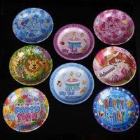 50pc Set MIX Color Disposable Plates Decorative Cartoon Tableware Birthday Decoration For Kid Birthday Party