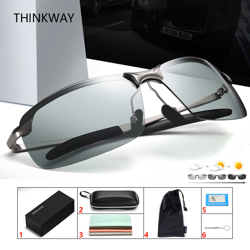 YHD36 Photochromic Sunglasses Men Polarized Sunglasses Women Sport Eyewear UV400 Driving Glasses with Eyewear case