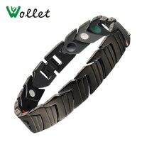 Wollet Jewelry Black Healing Infrared Tourmaline Germanium Bio Magnetic Pure Titanium Bracelet Bangle For Men