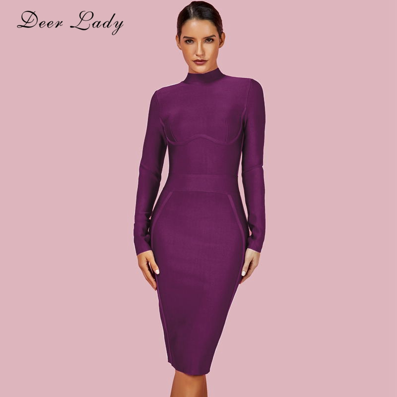 a8c820f8871 Beste Koop Herten Dame Sexy Bandage Jurk 2018 New Arrivals Black Bandage  Dress Lange Mouwen Bodycon Witte Jurk Bandage Party Club Goedkoop