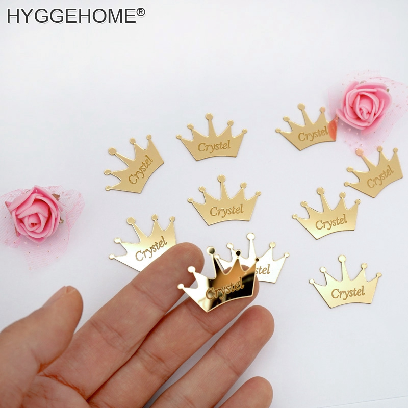 100pcs Personalized Crown Name Mirror Custom Acrylic Small Stickers Wedding Gifts for Guest Party Favors