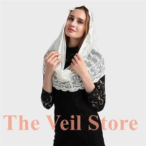 Image 2 - ISHSY Ivory Lace Women Catholic Mantilla Veil for Church Head Cover Latin Mass Velo Mantilla de Novia Negra Chapel infinity veil