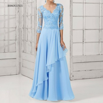 Lace Long Design Formal Pearl Elegant V-Neck Plus Size Party Evening Gown Chiffon Prom Black Blue Mother Of The Bride Dresses
