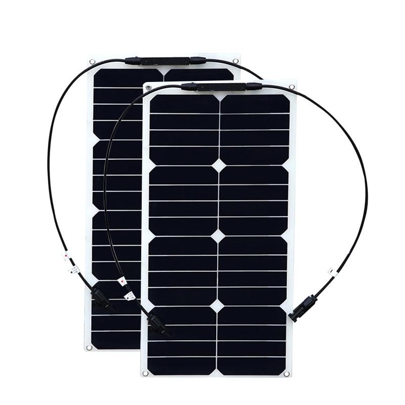 BOGUANG 2PCS 17.6V 25W solar panel semi flexible solar panel monocrystalline silicon for car RV boat 12V /24V battery 12v pwm 20w solar panel waterproof semi flexible monocrystalline solar panel for rv car boat battery charger solar cells 2 led