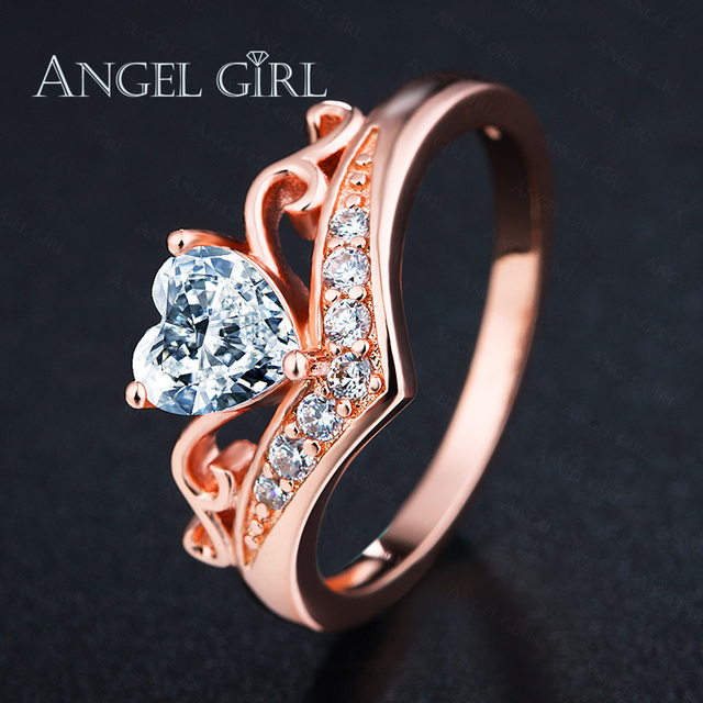 2e55c47fa574a Angel Girl 2019 Rose gold colour Crown Hand Heart Clah-Duh Claddagh Ring  For Women Cubic Zirconia Female Luxury Wedding Rings