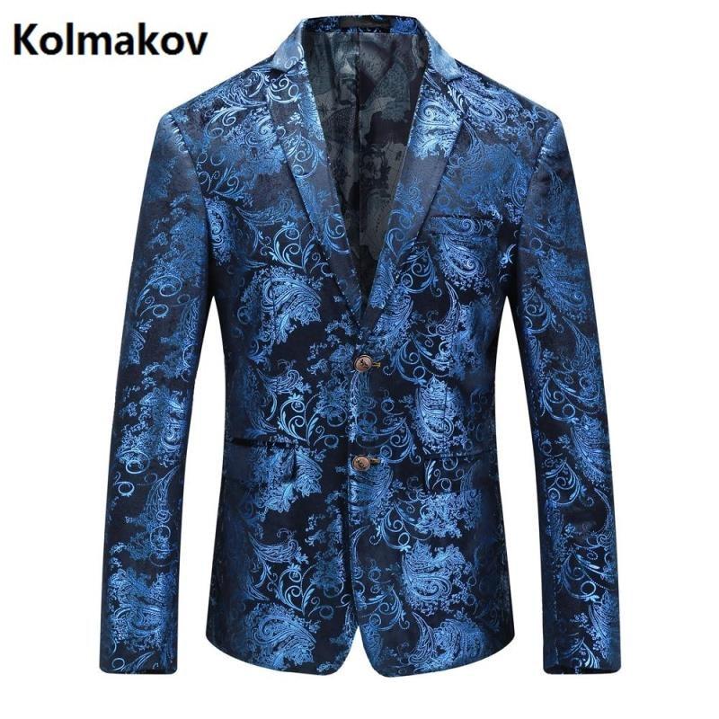 KOLMAKOV 2017 autumn men's suits casual Classic blue blazers,business jacket men, Wedding dress blazers men Free shipping